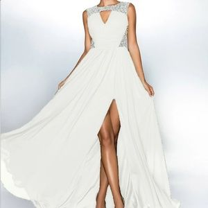 Dresses & Skirts - Jewel Neck Chiffon and Sequin Gown